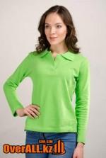 Футболки поло с длинным рукавом, женские, зелёный цвет.