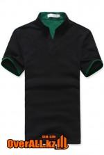 Черно-зеленая футболка поло