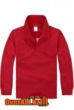 Красная футболка поло с длинным рукавом