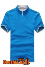 Голубо-серая футболка поло