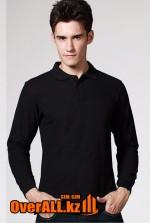 Черный лонгслив-поло, мужская футболка-поло с длинным рукавом