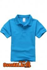 Детская голубая футболка поло