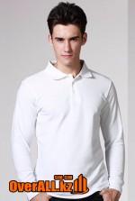 Белый лонгслив-поло, мужская футболка-поло с длинным рукавом