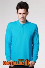 Синий лонгслив-поло, мужская футболка-поло с длинным рукавом