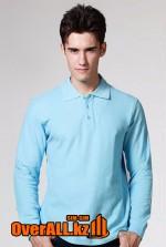 Голубой лонгслив-поло, мужская футболка-поло с длинным рукавом