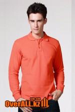 Оранжевый лонгслив-поло, мужская футболка-поло с длинным рукавом