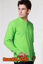 Зеленый лонгслив-поло, мужская футболка-поло с длинным рукавом