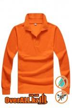 Лонгслив поло, оранжевый