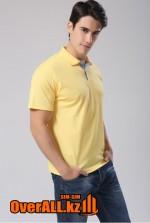 Желтая мужская рубашка поло с коротким рукавом