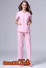 Розовый женский медицинский костюм