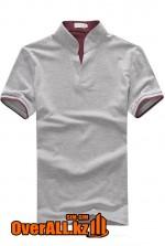 Серо-бордовая футболка поло