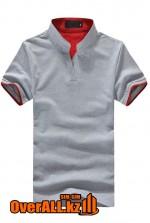 Серо-красная футболка поло