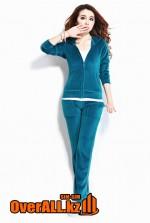 Синий велюровый костюм