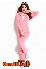 Светло-розовый велюровый костюм