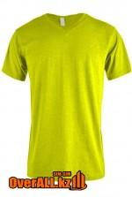 Салатовая футболка с V-образным вырезом