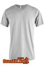 Светло-серая футболка с V-образным вырезом